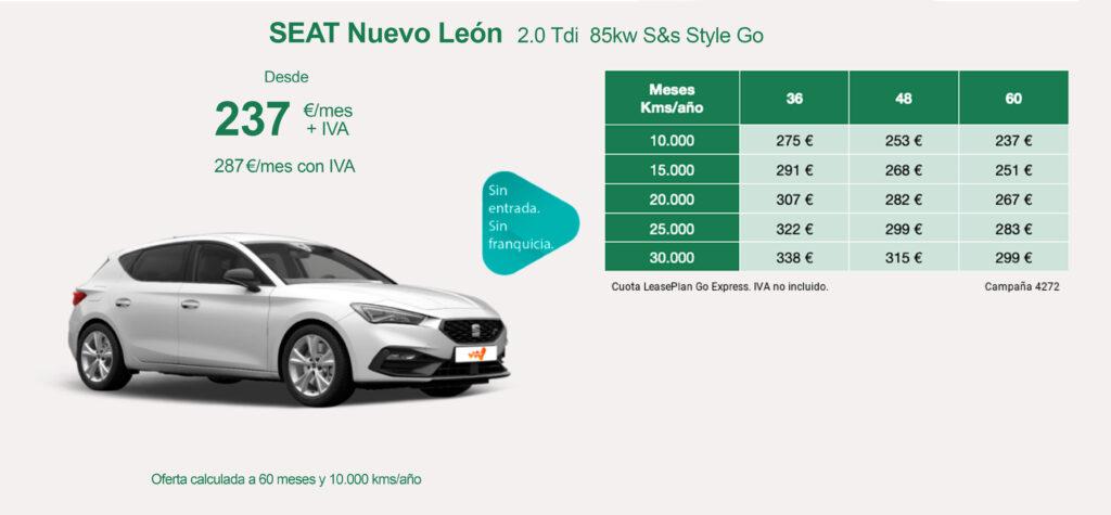 oferta renting seat leon junio 2021
